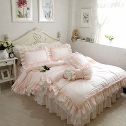 ruffle duvet set Coupons - Embroidery luxury bedding set Super sweet princess bedding ruffle duvet cover Wedding decorative bedding bed sheet cover set T200414