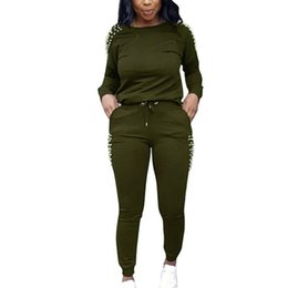 2020 zwei stück damen overalls Qili Frauen mit Perlen verziert Jumpsuits Herbst Langarm-Zweiteiler Büro-Dame-Overall 2 Stück der beiläufigen Frauen Jumpsuits Plus Size rabatt zwei stück damen overalls