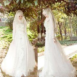 2019 hijab rendas vestido de noiva de tule Muçulmano Terbaru Vestidos De Noiva Hijab Véu Sparkly Beads Cristais Tulle Lace Vestidos De Noiva Mangas Compridas Vestidos de Casamento Trem Da Varredura hijab rendas vestido de noiva de tule barato