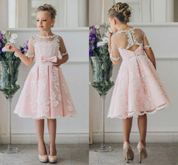 Cheap Short Flower Girl Dresses for Bohemia Beach Wedding Dresses Knee Length Lace A Line 2019 Junior Bridesmaid Kids Formal Party Dresses