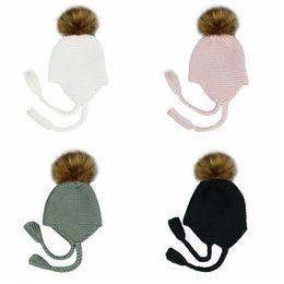 Häkelhauben für babys online-Nette Kinder Pelz Pompom Beanie-Baby-Häkeln Wolle Strickmütze Winter warme Pom Pom Haar-Ball Mützen Bonnet MMA2372