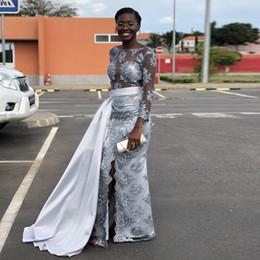 vestidos de celebridade spandex Desconto Cinza Dividir Frente Sereia Vestidos de Noite com Trem Destacável Ilusão Top Apliques de Celebridade Vestido De Cetim África Vestidos de Baile