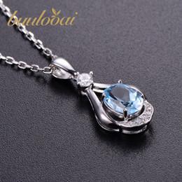 blaue stein silberne schmucksachen Rabatt buulooai Naturstein Sky Blue Topaz Anhänger Halskette aus massivem 925er Sterling Silber Schmuck für Frauen