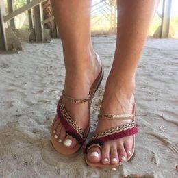 sandálias de estilo étnico Desconto Estilo étnico Babouche Bohemian Sandálias de Fundo Liso Sapatos de Fita Mulheres Borlas Confortável Bardian Verão Moda Praia 25jtf1