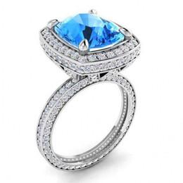 Tamaños de formas de diamante online-Tamaño 6-10 Joyería de Moda Vintage Plata de Ley 925 Cojín Forma Azul Zafiro CZ Diamond Eternity Pave CZ Mujeres Anillo de Novia de Boda Regalo