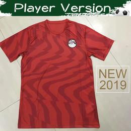 Camisas de egipto online-Versión para jugadores 2019 Egypt Home Soccer Jersey 19/20 # 10 M.SALAH Camiseta de fútbol roja 2020 Egipto Selección Nacional Uniformes de fútbol Ventas