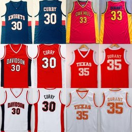 2019 camiseta de baloncesto de curry # 30 Curry Davidson # 35 Durant Texas College Camisetas de baloncesto Caballeros cosidos Oak Hill High School Basketball Jersey camiseta de baloncesto de curry baratos