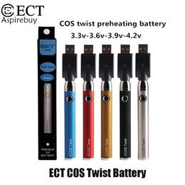 2019 stylo e cigarette ECT COS Twist Batterie Avec 650mAh Capacité Tension Variable Préchauffer Batterie 510 Fil ECT Batterie VS ECT COS PRO 100% Original