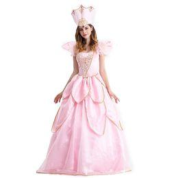 Nueva moda rosa princesa traje para mujer vestido de lujo con sombrero flor bonita mujer traje de Halloween desde fabricantes