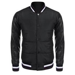 2019 gli uomini hanno trapuntato giù la giacca Bomber trapuntato casual da uomo in pelle patchwork abbottonata, vestibilità comoda, manica lunga gli uomini hanno trapuntato giù la giacca economici