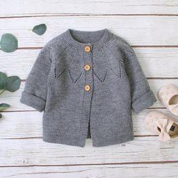 Chaquetas de seda ropa de abrigo online-Bebés del suéter de manga larga rebecas otoño sólido gris Ropa de abrigo para niños pequeños Blusas de punto Tops 0-2Year punto para niños
