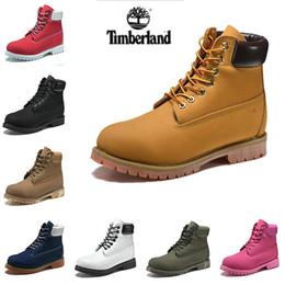 Stivali rossi delle donne online-2019 Sports Shoes Nuove Timberland botas progettista degli uomini scarpe da tennis casuali Mens Womens formatori di grano Nero Rosso Marca Timberlands stivali