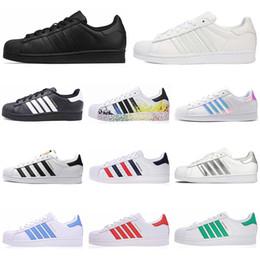 Migliori Scarpe Running Adidas US5 11 Pelle Classica Superstar Bianco Nero Bianco Rosa Blu Oro Superstars 80s Pride Sneakers Super Star Donna Uomo