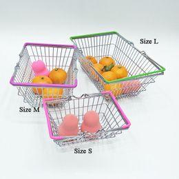 i carrelli della spesa del supermercato Sconti Mini Supermarket Carrello della spesa Giocattolo per bambini Desktop Cosmetic Sundries Organizer Iron Storage Basket