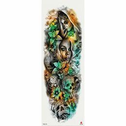 Roses fausses jaunes en Ligne-1 pièce autocollant de tatouage temporaire jaune vert crâne Roses modèle pleine fleur tatouage avec bras Body Art grand faux tatouage
