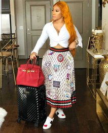 Designer Irregular Imprimir saia plissada Moda feminina Casual apliques coloridos Vestido Mulheres Verão Elastic Saia de cintura de