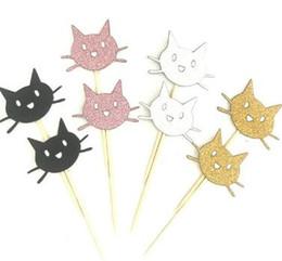 lindo pastel de gato Rebajas Astilla de oro rosa negro gato Cupcake Toppers elegir boda niños cumpleaños fiesta decoración lindo Animal Cat Cake Topper