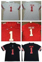 2019 campo de fútbol 2019 New College Justin Fields OSU Ohio State Buckeyes Camiseta de fútbol OSU Local Visitante Rojo Blanco Alternativo Negro Tamaño S-3XL campo de fútbol baratos