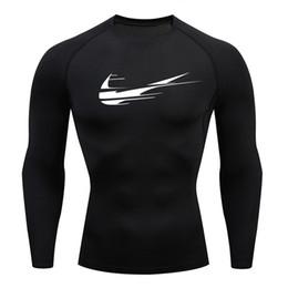 Camisas largas para medias online-Medias deportivas Fitness Camisa de running de manga larga para hombre Camiseta de compresión ajustada para hombre Camisa de entrenamiento de gimnasio