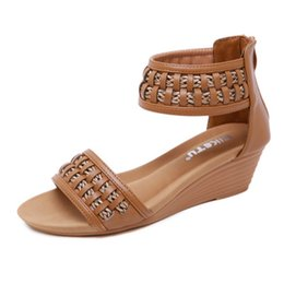a0d9a7c2b China New 2019 Bohemian Classic Roman style Women s Sandals Wedges Large  Size Comfort Roman Shoes Summer