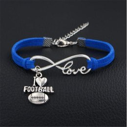 wholesale fashion football bracelet Coupons - 2019 New Fashion Royal Blue Leather Suede Wrap bracelet & bangles Infinity Love I Heart Football Ball Sport Tearm Jewelry for Women Men Gift