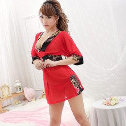 ISHOWTIENDA Mujeres Albornoz Lencería Sexy Traje Kimono Fino Traje Rojo Kimono de Encaje Camisón desde fabricantes