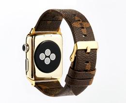 relojes s3 Rebajas Diseñador de bandas de cuero Correa de cuero para bandas de reloj de Apple iwatch S1 S2 S3 S4 38 40mm 42 44mm Reloj elegante Cinturón + Hebilla Impreso de lujo GSZ504