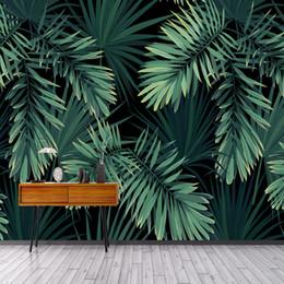 2020 modernes restaurant wanddekor Gewohnheit 3D-Wand Tapeten Modern Vintage Baum Blatt Fototapete Wohnzimmer TV Sofa Restaurant-Hintergrund-Wand Home Decor günstig modernes restaurant wanddekor