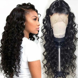 2019 chinelo bang corpo onda cabelo Lado parte onda solta rendas frente e peruca cheia do laço perucas de cabelo humano brasileiro com bbay cabelo cor natural para as mulheres negras