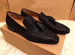 2019 zapatillas negras Regalo perfecto para hombre Fondo rojo Diente de león borla Mocasín Brillo negro Deslizamiento en Oxford Caminando Caballero Noche de lujo EU35-46, con caja