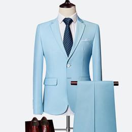 2019 esmoquin azul cielo Plyesxale traje de dos piezas para hombres, azul cielo, gris, blanco, trajes de los hombres para la boda esmoquin Slim Fit trajes para hombre con pantalones Borgoña esmoquin azul cielo baratos