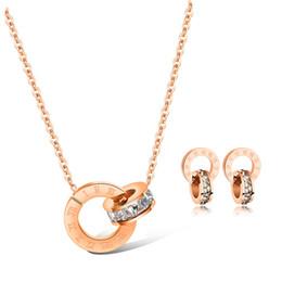 smaragd korallen jade schmuck Rabatt Luxus Schmuck Designer Schmuck Sets für Frauen Rose Gold Farbe Doppel Ringe Ohrringe Halskette Titan Stahl Sets Hot Fasion