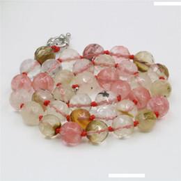 2020 rosa turmalin perlen Natürlicher Kristallstein Rosa Wassermelone Turmalin Perlen 8mm 10mm 12mm runde facettierte Halsketten-Zusatz-Geschenk-Frauen 18inch Y242 rabatt rosa turmalin perlen