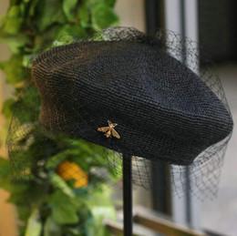 Bérets de mode été en Ligne-Béret vintage élégant chapeau noir maille mode chapeau de paille fait main fine crochet dames été vent vacances béret