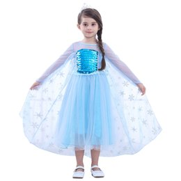 2019 vestiti glitter A maniche corte principessa Dress Girl Kids paillettes glitter Patchwork Cosplay principessa Dress Skirt bambini costume Clothes O-OA6894 sconti vestiti glitter