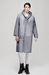 2019 batteria coreana Moda Donna uomo EVA Impermeabile trasparente Impermeabile portatile da viaggio all'aperto Impermeabile Campeggio con cappuccio Poncho di plastica antipioggia