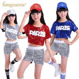 SONGYUEXIA Çocuk Dans Kostüm Suit Kaçak Payetler Amigo Hip Hop Modern Dans Kostümleri erkek kız sahne giyim nereden