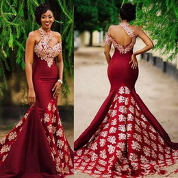 white classic women dress Promo Codes - 2019 Charming Mermaid Burgundy Prom Evening Dresses with Lace Applique High Neck African Court Train Women Formal Party Gowns