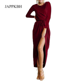 e8f9ecc4859d Jappkbh Autunno Inverno Abito Lungo Donna Elegante Sexy Alta Forcella  Signore Abiti New Casual Vintage Beach Party Dress Dress Vestidos Q190413