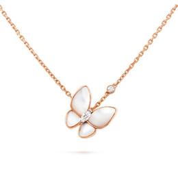 925 sterling silber schmetterling anhänger online-Luxus Halsketten Zwei Schmetterling Diamant Halskette Schmuck 925 Sterling Silber Anhänger Halsketten Für Frauen Mit Box