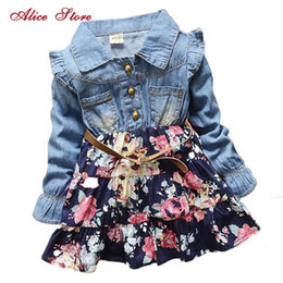 2021 i bambini ragazze merlettano il vestito floreale dal denim Girls Polka Dot Cartoon Princess Dress Denim Dress Floral Dress Summer Abiti Abiti di pizzo Manica lunga Bambini Spedizione gratuita CY200514
