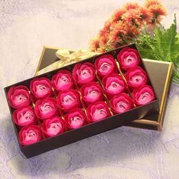 caixas de transporte decorativas por atacado Desconto Wholesale 18 pcs Navio Livre Romântico Rose Sabonete Flores Cabeça Artificial Flor Pétalas De Banho Caixa Para Presentes de Dia Dos Namorados Flores Decorativas