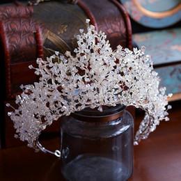 grandes coronas de strass Rebajas Nuevo color de plata de lujo grande grande de cristal tiaras diadema Rhinestone concurso de coronas de baile de la boda barroca accesorios para el cabello