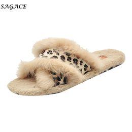 Baumwollspitze deckt frauen online-SAGACE Schuhe Leopard Flock Winter Frauen Mädchen Slipper Damen Rutschfeste Flache Warme Baumwolle Bedeckt Lässige PVC Runde Kappe Schuhe