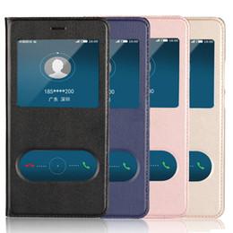 2019 cubierta de metal huawei Funda para P9Lite Window View Funda para Huawei P9 Lite 2016 2017 Coque Cover Leather Flip Slide Slide Bolsas para teléfonos móviles Etui cubierta de metal huawei baratos