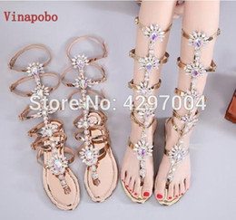Vinapobo Summer Gladiator Flats Sandals Gold Rhinestone Knee High Buckle Strap Woman Boots Bohemia Style Crystal Beach Shoes