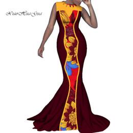 estampas africanas sereia vestidos Desconto Bazin Riche Sexy Patchwork Vestido Africano Mulheres Vestidos de Festa Vestidos de Impressão Africano Nova Sereia Vestidos Longos para As Mulheres WY322