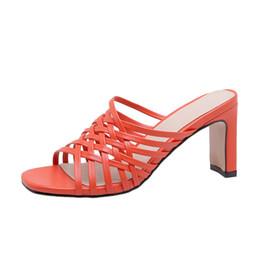 sandale orange à bout ouvert Promotion En gros Bande Étroite Solide Femmes Pantoufles Été Ouvert Toes Chaussures Mode Femme Diapositives Talons Carrés Sandales Mule Chaussures Zapatos De Mujer