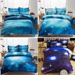 2019 edredons de tamanho de rainha de borboleta 3D Galaxy Conjuntos de Cama Gêmeo / Rainha 2 pçs / 3 pçs / 4 pcs Capa de Edredon Fronha Capa Conjunto Universo Espaço Exterior Roupa de Cama Temática