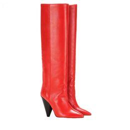 Rote regenstiefel frauen online-Botas Mujer Invierno Rot Herbst Winter Leder Stachel High Heels Kniehohe Lange Stiefel Damen Schuhe Famale Punk Rain Bota